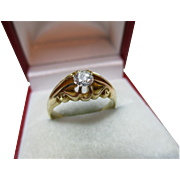 Decorative Antique{Birmingham 1913} 18ct Solid Gold Diamond Solitaire Gemstone Ring{4.9 Grams}{0.35Ct Weight}