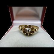 Pretty Edwardian{Birmingham 1905} 18ct Solid Gold Diamond Solitaire Gemstone Ring