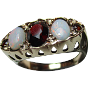 Attractive Vintage{London 1977} 9ct Solid Gold 5-Stone Opal + Garnet Gemstone Ring{4.1 Grams}