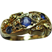 Decorative{Birmingham 1919} 18ct Solid Gold 5-Stone Diamond + Sapphire Gemstone Ring