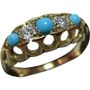 Decorative{Birmingham 1918} 18ct Solid 5-Stone Gold Diamond + Turquoise Gemstone Ring{0.12Ct Diamond Weight}