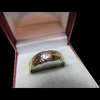 Decorative Antique Style 9ct Solid Gold Diamond + Garnet Gemstone Ring