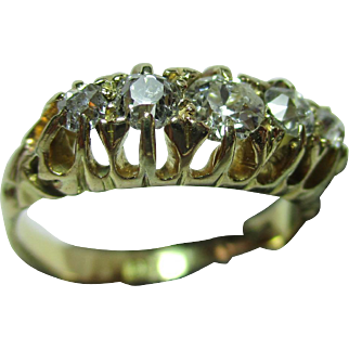 Attractive Antique 18ct Solid Gold 5-Stone Diamond Gemstone Ring{3.4 Grams}{0.55Ct Diamond Weight}