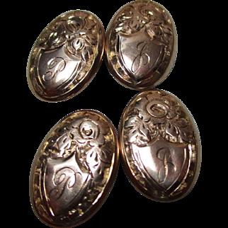 Gents' Decorative Edwardian{Birmingham 1904} 9ct Rose Gold Engraved Chain-Link Cufflinks