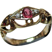 Ornate Antique 18ct Solid Gold 5-Stone Diamond + Ruby Gemstone Ring