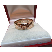 Decorative Edwardian{Birmingham 1907} 9ct Solid Rose Gold 'Foliate Engraved' Wedding Band Ring