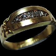 Attractive Victorian{Birmingham 1892} 15ct Solid Gold 5-Stone Diamond Gemstone Ring