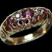 Edwardian{Birmingham 1903} 18ct Solid Gold 5-Stone Diamond + Ruby Gemstone Ring{3.0 Grams}