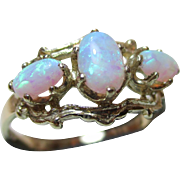 Attractive Antique Style 9ct Solid Gold 3-Stone Opal Gemstone Ring