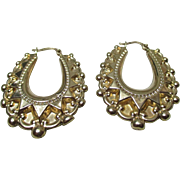 Decorative Antique Style 9ct Gold Hollow Filled Earrings{4.3 Grams}