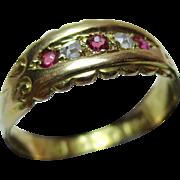 Pretty Victorian{Birmingham 1897} 18ct Gold 5-Stone Diamond + Ruby Gemstone Ring Pretty Victorian{Birmingham 1897}