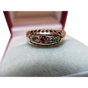 Decorative Antique{Chester 1914} 9ct Solid Rose Gold 5-Stone Diamond, Emerald + Ruby Gemstone 'Suffragette' Ring