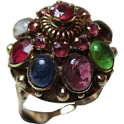 Beautiful Antique 15ct Solid Gold, Multi Gemstone 'Pagoda' Ring{6.0 Grams}