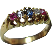 Attractive Antique 18ct Solid Gold 5-Stone Diamond, Ruby + Sapphire Gemstone Ring{3.6 Grams}