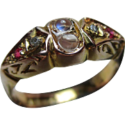 Attractive{Birmingham 1923} 9ct Solid Gold 6-Stone Diamond, Ruby + Moonstone Gemstone Ring