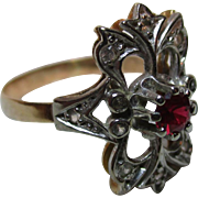 Attractive 'Art Deco' 15ct Solid Gold Ruby + White Topaz Gemstone Ring