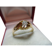 Attractive Antique 18ct Solid Gold Diamond Solitaire Gemstone Ring{3.3 Grams}{0.2Ct Weight}