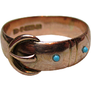 Superb Victorian{Chester 1893} 9ct Solid Gold Turquoise Gemstone Buckle Ring{5.7 Grams}