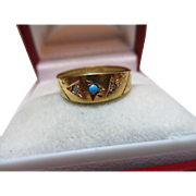Ornate Victorian{Chester 1895} 15ct Solid Gold 3-Stone Diamond + Turquoise Gemstone Ring
