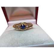 Attractive{Birmingham 1919} 18ct Solid Gold 5-Stone Diamond + Sapphire Gemstone Ring