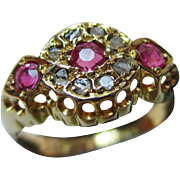 Exquisite{Birmingham 1921} 18ct Solid Gold Diamond + Ruby Gemstone Cluster Ring