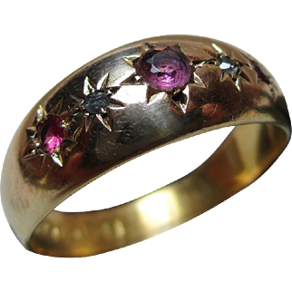 Attractive Edwardian{Chester 1906}18ct Gold 5-Stone Diamond + Ruby Gemstone Ring