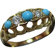 Decorative{Birmingham 1918} 18ct Solid 5-Stone Gold Diamond + Turquoise Gemstone Ring{0.12Ct Diamond Weight}