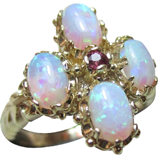 Vibrant Vintage 9ct Solid Gold Ruby + Opal Gemstone Cluster Ring{3.7 Grams}