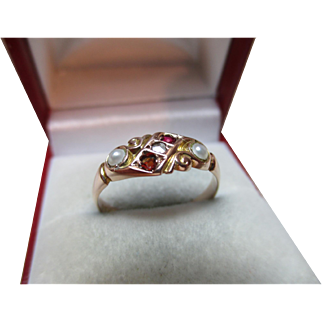 Attractive Edwardian{Chester 1906} 9ct Solid Gold Diamond, Garnet + Split Seed-Pearl Gemstone Ring