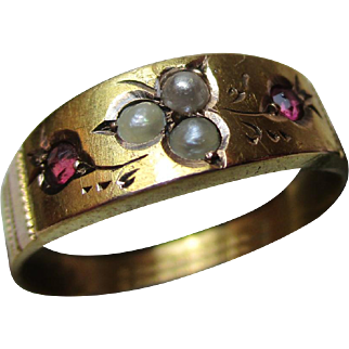 Pretty Victorian{Chester 1894} 15ct Solid Gold Ruby + Split Seed-Pearl Gemstone Ring