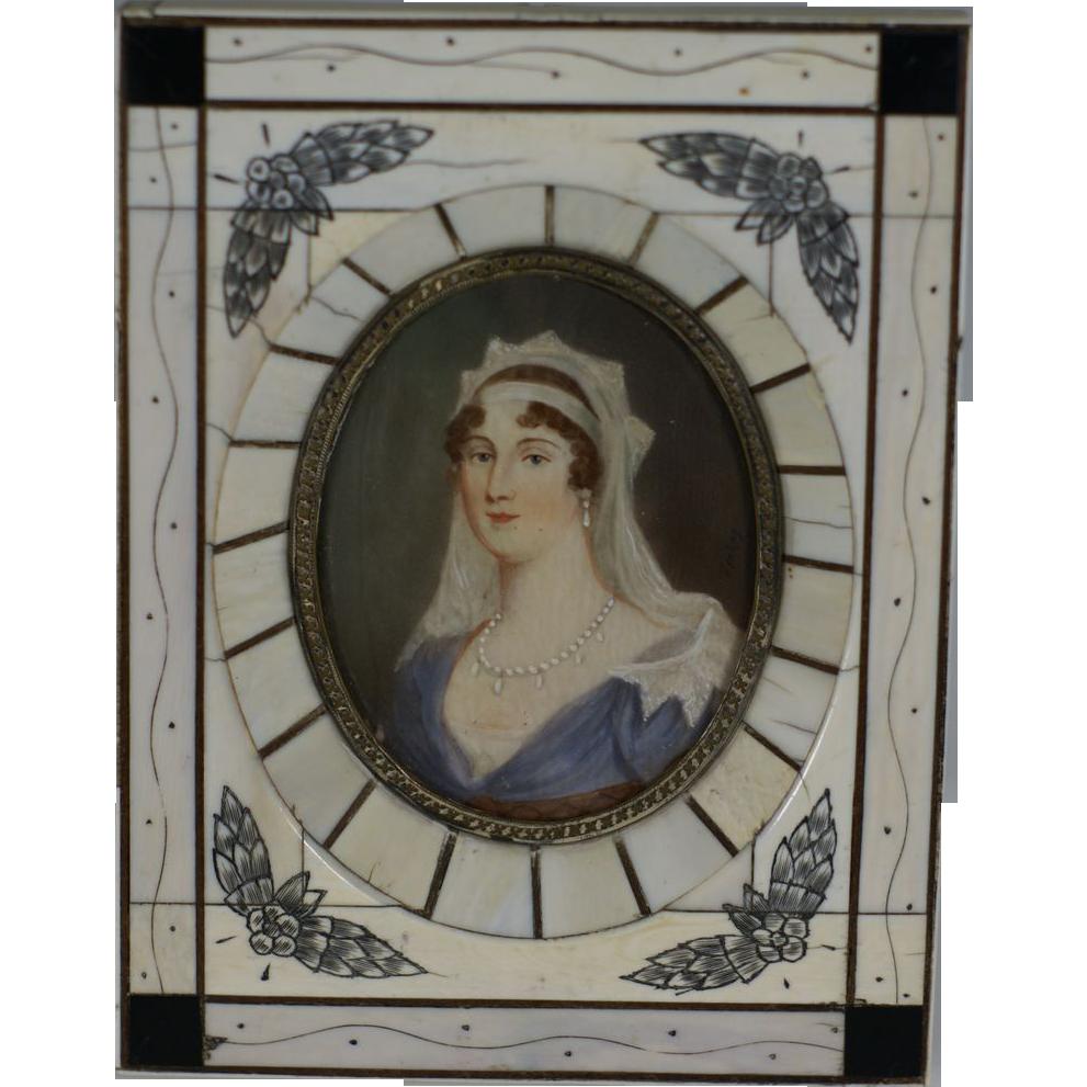 Antique c.1800's Beautiful Miniature Oil Painting