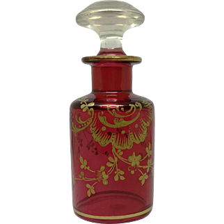 Baccarat Cranberry Glass Gold Decorated Perfume Bottle Original Paper Label