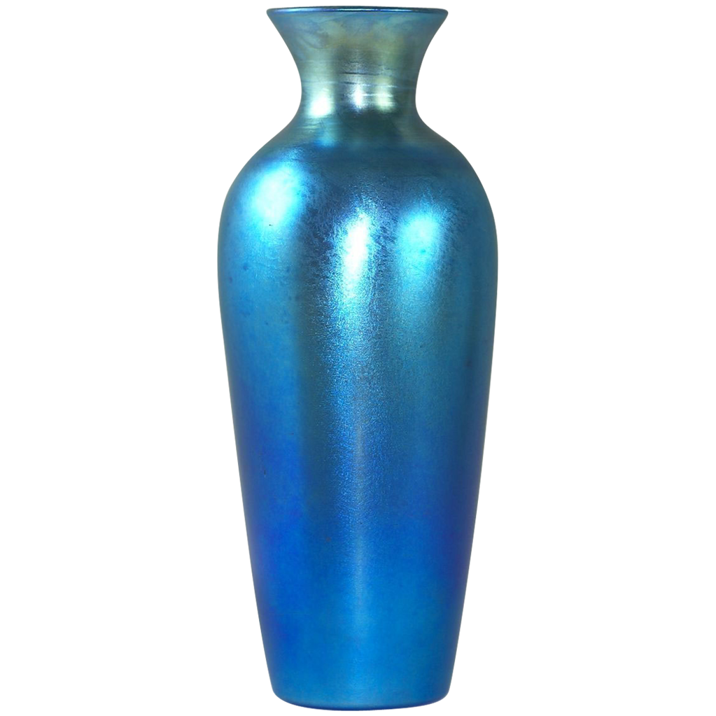 stunning durand blue luster iridescent art glass vase from glasscollectordotnet on ruby lane. Black Bedroom Furniture Sets. Home Design Ideas