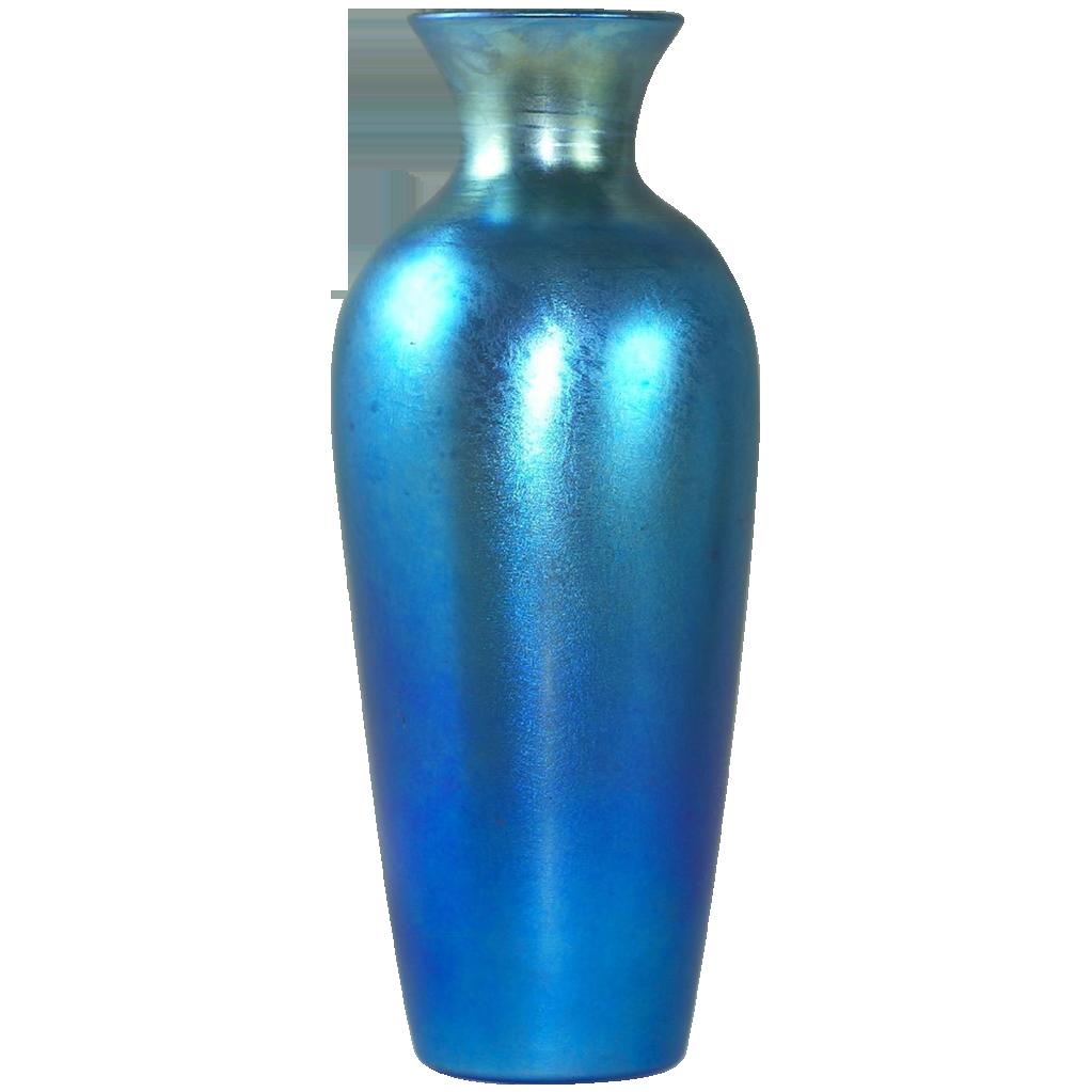 Stunning Durand Blue Luster Iridescent Art Glass Vase