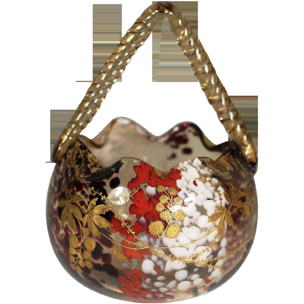 Ernest Baptiste Léveillé, Paris c. 1900 Art Glass Basket
