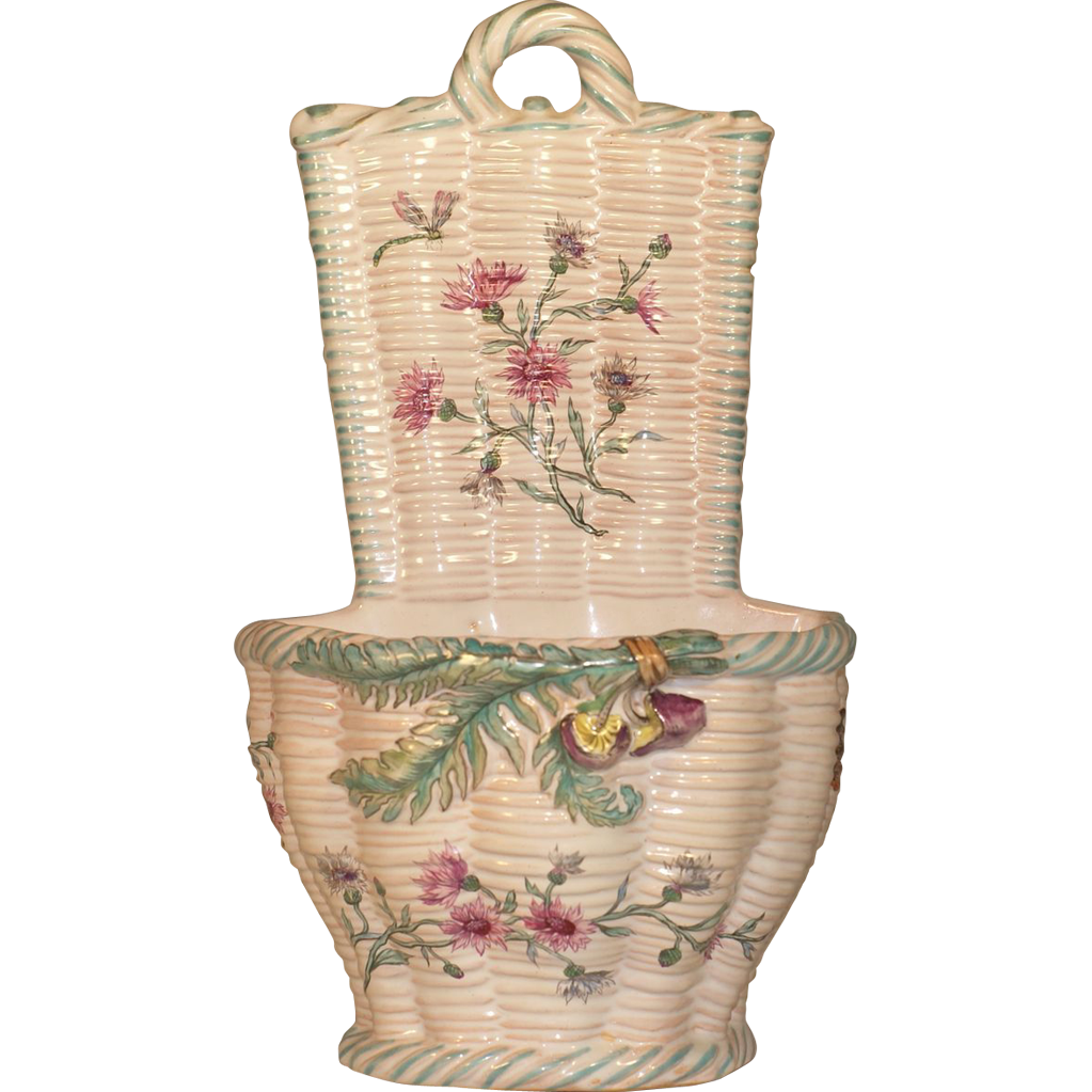 Rare Art Nouveau Emile Galle Faience Pottery Mushrooms, Dragonfly, Butterflies