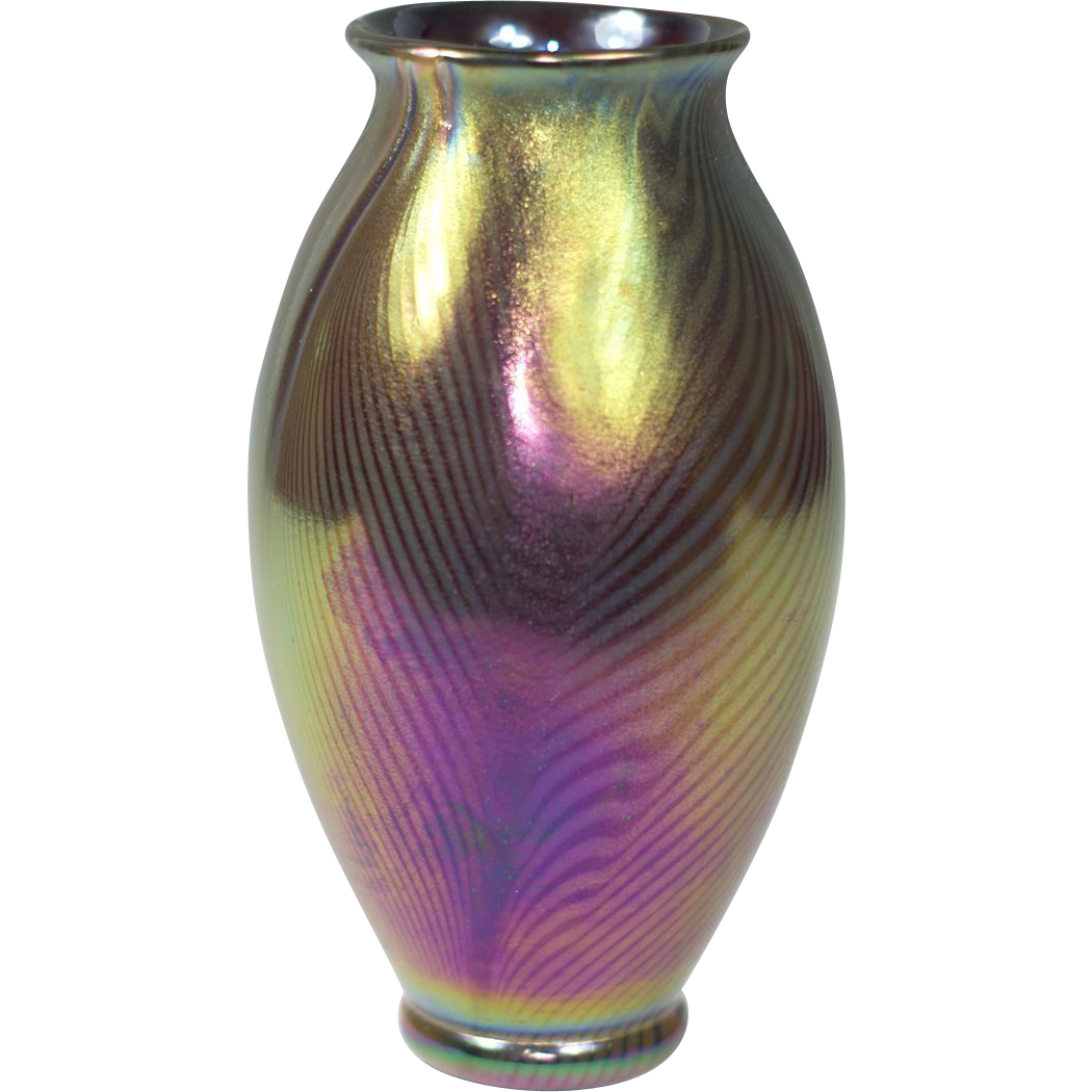 Rare kew blas black iridescent pulled feather vase from