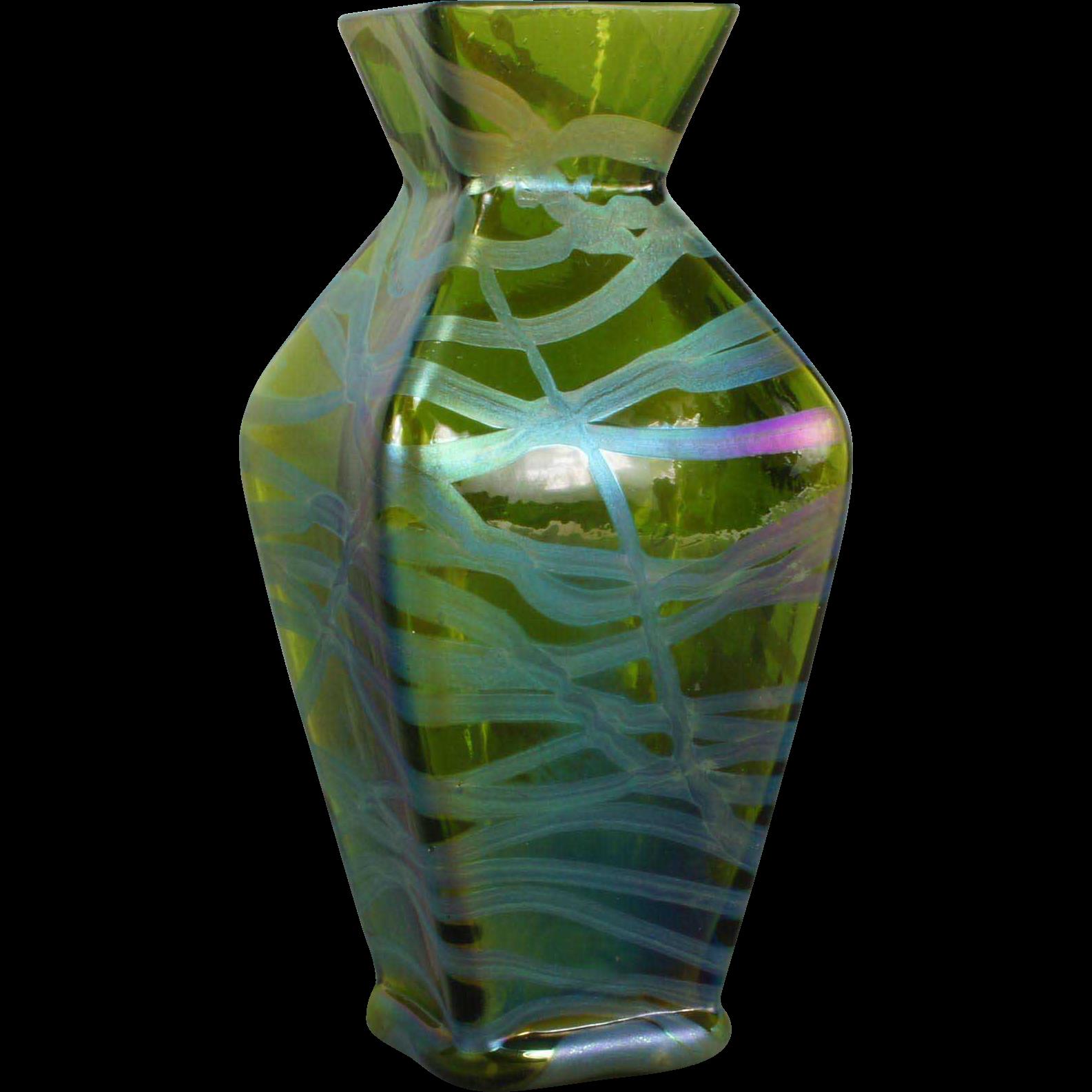 Rare Kralik Banded Iridescent Vase Loetz Era Glasscollector Ruby Lane