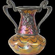 Kralik Iridescent Blue on Gold Art Glass Vase with Art Nouveau Metal Mounts
