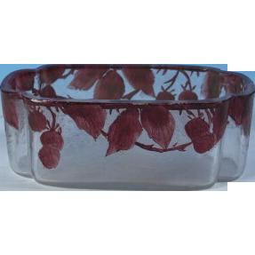 "Legras Cameo Glass & Enameled ""Rubis"" Jardiniere"
