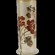 "Signed 8"" Mont Joye Legras Enameled Cameo Glass Vase"