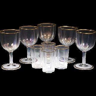 Beautiful set of RARE J & L LOBMEYR Iridescent Hock Glasses and Juice Glasses / Tumblers