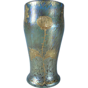 Loetz Art Nouveau Decorated Gold Candia Papillion Vase