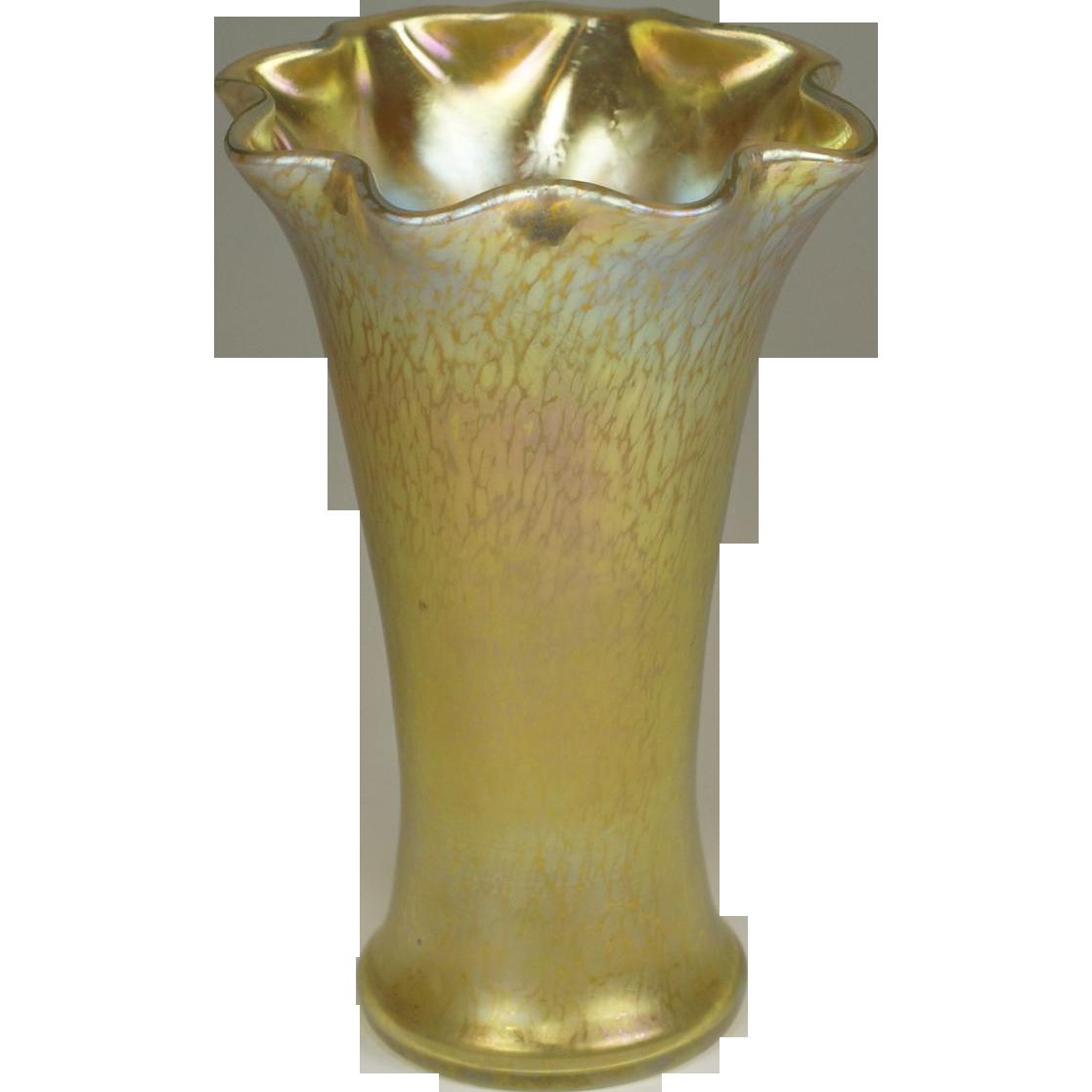 Loetz Gold Candia Papillon & Candia Silberiris Large Vase