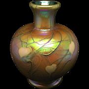 Vintage Lundberg Studios Artist Signed Hearts & Vines Miniature Vase