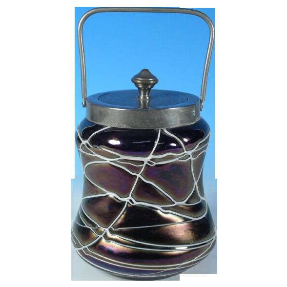Pallme-König / Glasfabrik Elisabeth  Threaded Glass Biscuit Jar