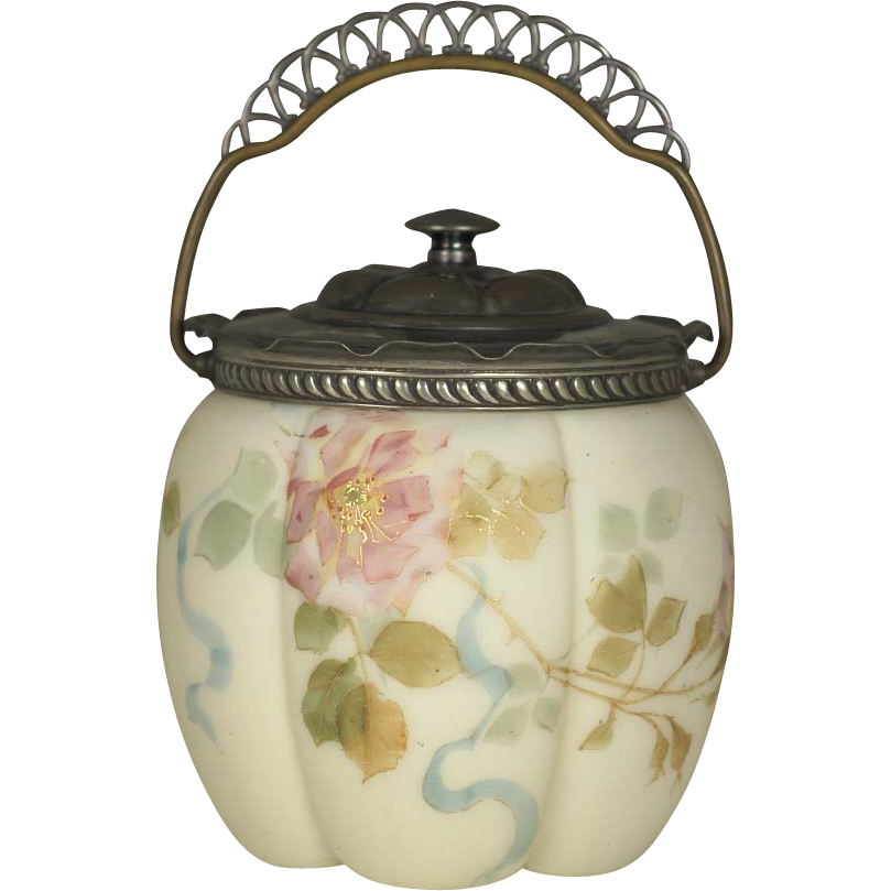 Mt Washington Smith Brothers ( Bros ) Floral Enameled Biscuit Jar Circa 1880