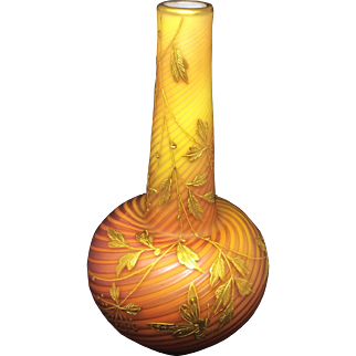 Stevens & Williams Pompeian Swirl Decorated Air Trap Glass Vase