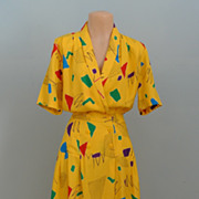 Short Sleeved Yellow Print 1980's Dress