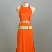 FUNKY Orange Cut-Out Design Evening Gown